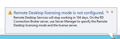 WinServer 2012 R2 - Licensing mode for the RDSH is not configured