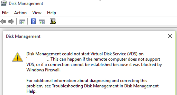 Disk Management could not start Virtual Disk Service (VDS)