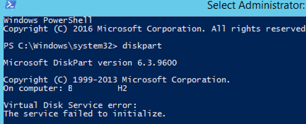 diskpart Virtual Disk Service The service failed to initialize