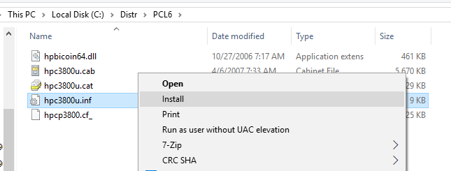 install old print driver from inf and cab files