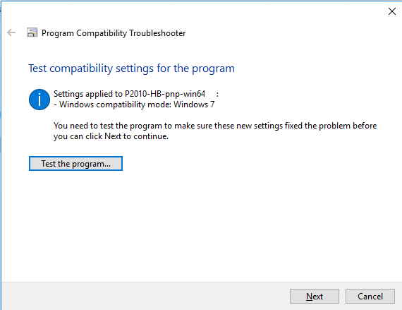 Test the program in the compatibility mode