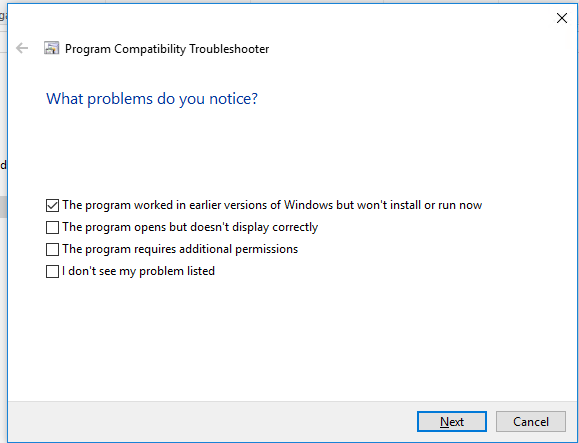 The program worked in earlier versions of Windows but won't install or run now