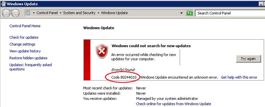 windows could not searc for new updates code 80244010