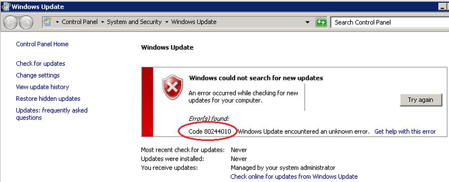 WSUS Windows Update Error 0x80244010: Exceeded max server