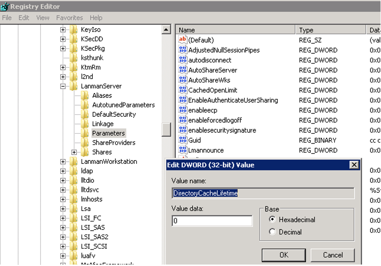 DirectoryCacheLifetime - smbv2 shared folder cache setting