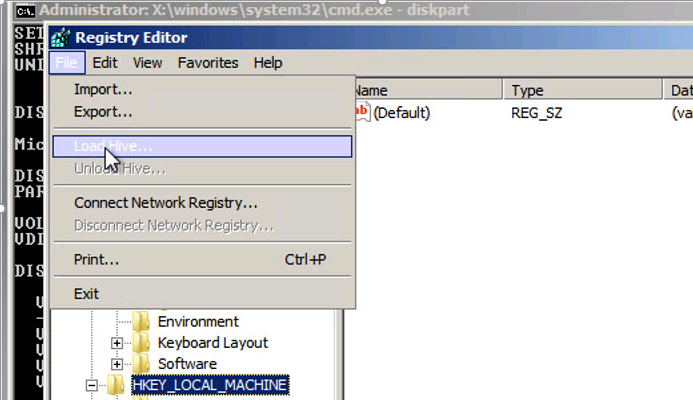 regedit load local hive \Windows\System32\config\SYSTEM