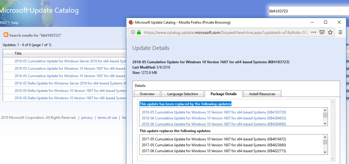 windows update catalog - update details and replacment info