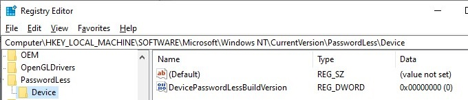 set the DevicePasswordLessBuildVersion registry parameter to enable autologin on windows10 20H2