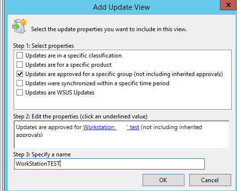 add update view for target wsus