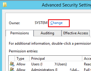 change registry key owner