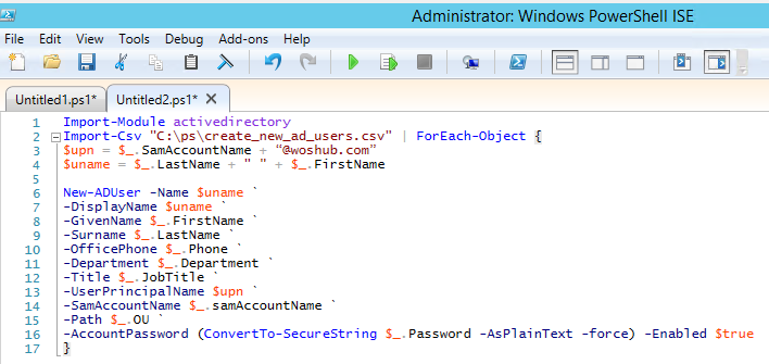 Create new Active Directory users with a PowerShell script