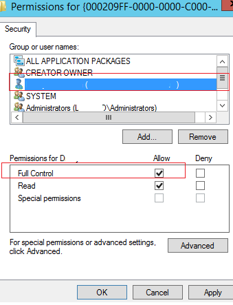 full control permissions on registry key