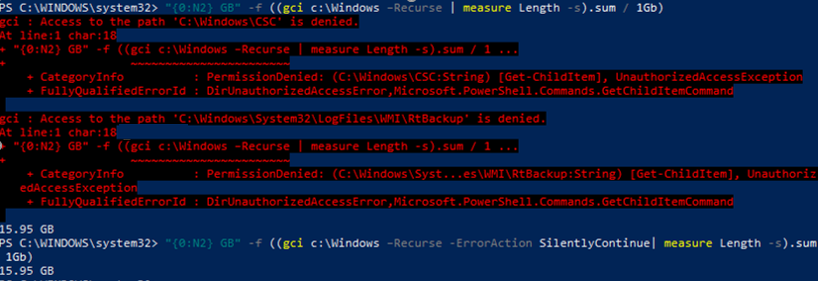 Get-ChildItem - access to the c:\windows\sbs is denied