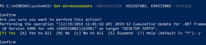 Get-WindowsUpdate Install updates powershell