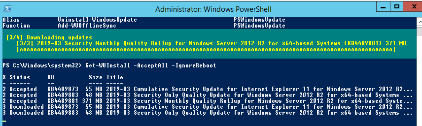 Get-WUInstall - installing windows update using PSWindowsUpdate Module