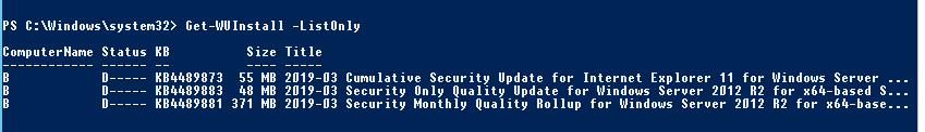 Get-WUInstall -ListOnly - list updates available to install on a computer using powershell