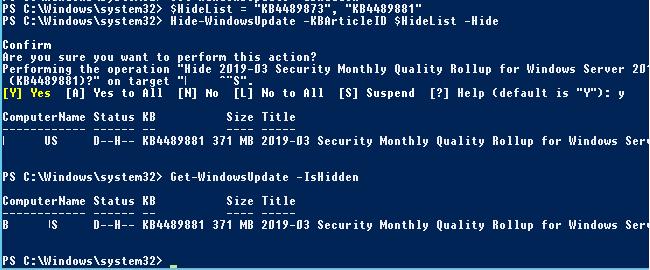 Hide-WindowsUpdate - hide kb from installation in windows