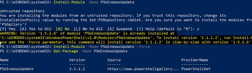 Install-Module PSWindowsUpdate from PSGallery