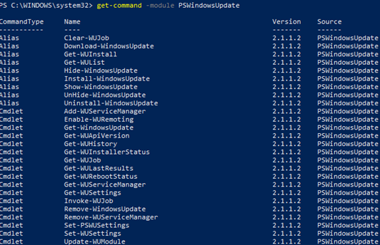 list PSWindowsUpdate module commands