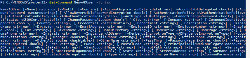 New-ADUser powershell cmdlet