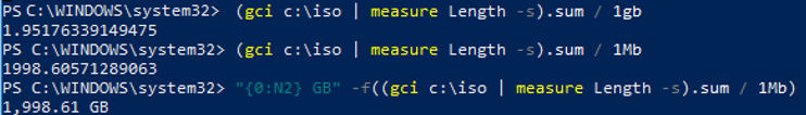 PowerShell Calculating Folder Sizes - gci and measure sum