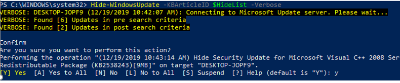 powershell - hide specific KBs in windows update