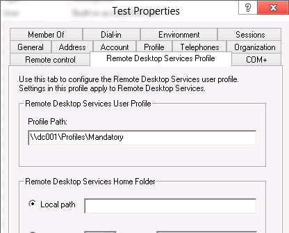 setting profile path in the Active Directory user's settings