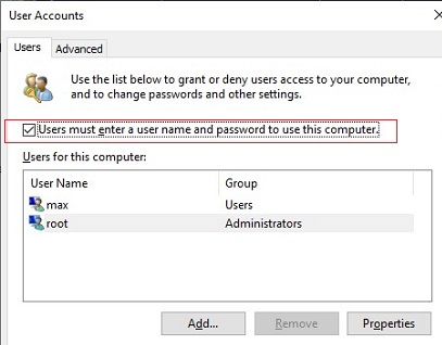 turn off password login on windows 10 - User must enter a username and password to use this computer