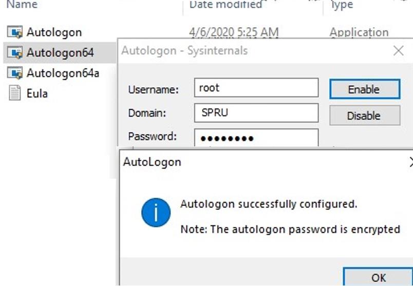 using sysinternals autologon tool