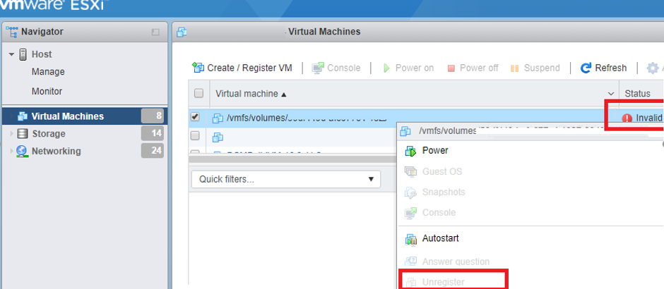 Invalid State of a Virtual Machine on VMWare ESXi | Windows
