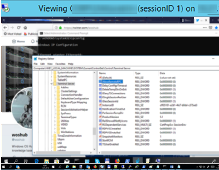 windows 10 session shadowing: viewing user's session