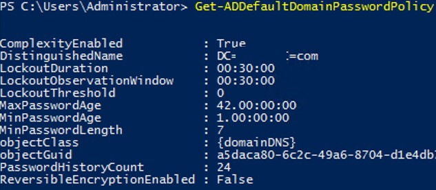 Get-ADDefaultDomainPasswordPolicy - powershell cmdlet