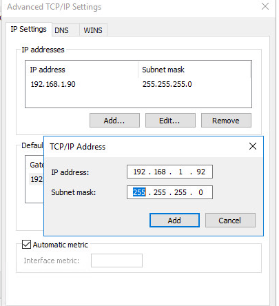 Assigning multiple IP addresses to single NIC in Windows 10