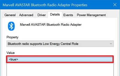 Bluetooth radio supports Low Energy Central Role support