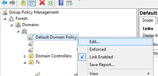 default domain policy - password settings