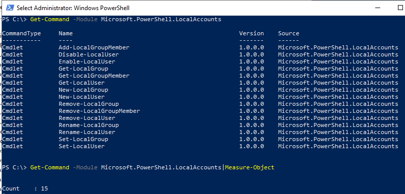 Get-Command Module Microsoft.PowerShell.LocalAccounts