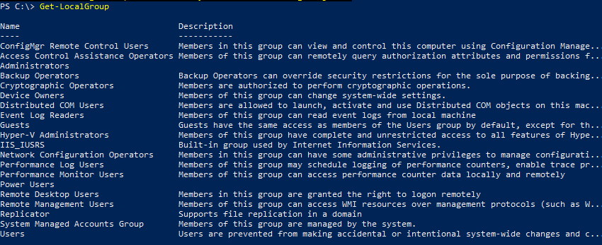 Get-LocalGroup powershell cmdlet