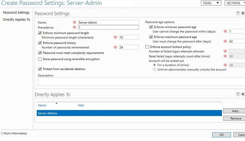 multiple password setting objects on active directory