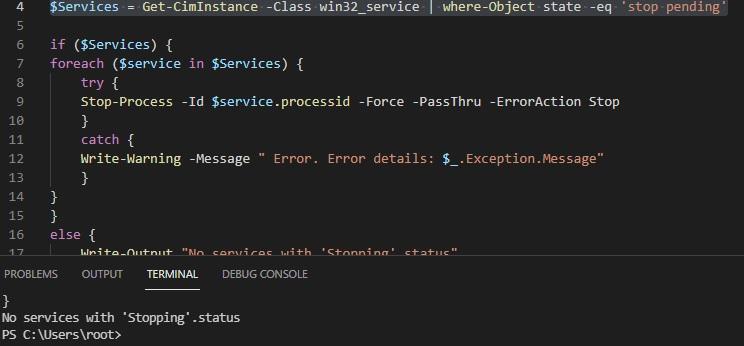 powershell script to kill stuck service process