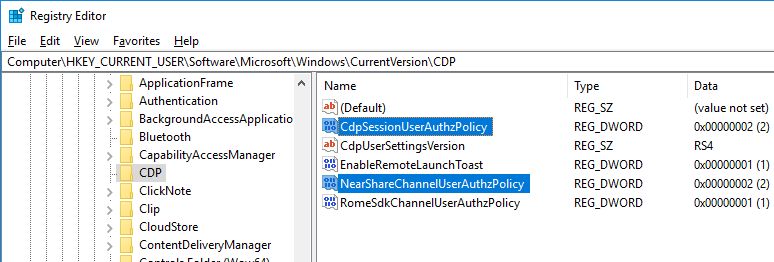 registry parameters to enable nearby sharing - CdpSessionUserAuthzPolicy and CdpSessionUserAuthzPolicy