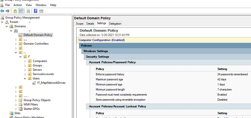 resulting password policy settings in ad domain