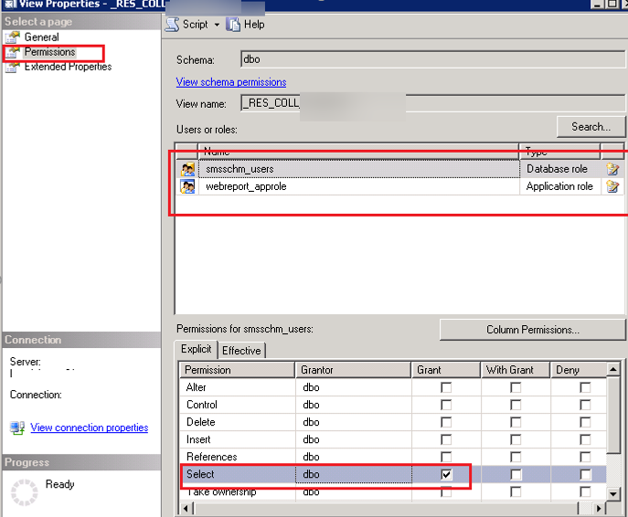 sccm db table permissions for the smsschm_user and webreport_approle.