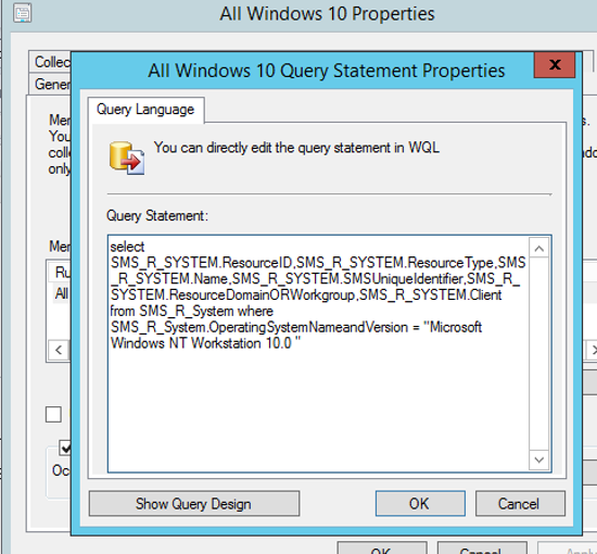 sccm : wql query builder