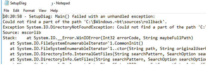 SetupDiag: Main() failed with an unhandled exception: Could not find a part of the path