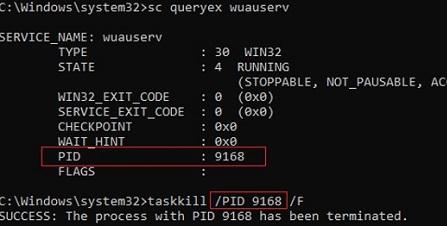 stopping stuck windows service in cmd using taskkill