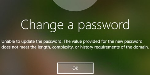 Unable to update the password. The value provided for the new password does not meet the length, complexity, or history requirements of the domain.
