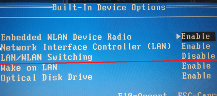 enable LAN/WLAN Switching in BIOS