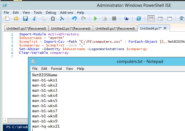 powershell script to restrict ad logonworkstations