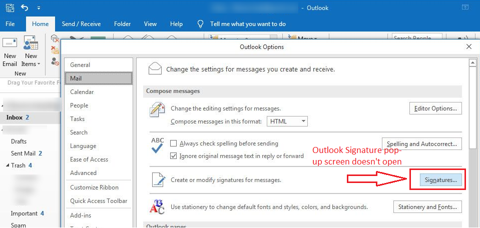 Signature option does not open in outlook 2016