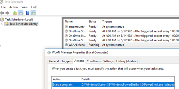WLAN Manager task in windows 10